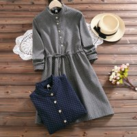 Wholesale Casual Dresses For Autumn - Autumn spring Stand collar Dot print dress for women Long sleeve vintage women dress Gray and Red colors