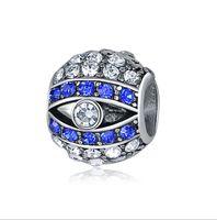 pandora korn des schlechten auges großhandel-Passt Pandora Armbänder 30 stücke Türkei Blau Evil eye Silber Charms Bead Charm Perlen Für Großhandel Diy Europäischen Sterling Halskette Schmuck