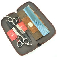 Wholesale pet grooming scissors sets resale online - Meisha Inch Bright Handle Hair Scissors Set Straight Hair Cutting Tesoura Pet Dog Grooming Clippers Salon Barber Thinning Tijeras HA0401