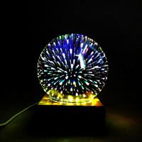 luces de noche de cristal al por mayor-lámpara de la bola de cristal colorida bola mágica luz 3d cielo nocturno estrellado corriente USB para el dormitorio de los niños regalos de luz decoración de Navidad