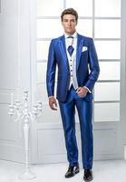 blaue glänzende hose großhandel-Custom Groomsmen Peak Revers Bräutigam Smoking Shiny Blue Herren Anzüge Hochzeit / Prom Best Man Blazer (Jacke + Hose + Weste + Tie) A266