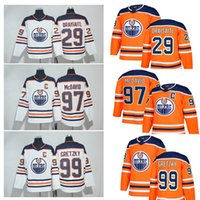 Wholesale Premier Men - 2018 men's Connor McDavid #97 Edmonton Oilers Hockey Jerseys with Captain C Patch Blue White Orange Third Alternate Premier Stitched Jerseys
