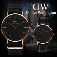 ingrosso orologio sottile-Moda Daniel Wellington da uomo 40mm da donna 36mm orologio design semplice orologio al quarzo cinturino in pelle nera amanti orologi ultra-sottili impermeabili