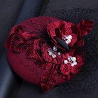 Wholesale Vintage Style Hair - 2018 Royal Princess Style Silk Velvet Burgund Beige Bridal Hats With Pearls Flower Vintage Hair Decoration Wedding Dress Accessories Party