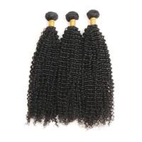 24 26 28 pelo indio al por mayor-El pelo humano rizado indio 3 paquetes de pelo no Remy teje 8-28 pulgadas de color negro natural se puede mezclar Envío gratis