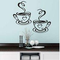 diseños de copa de vinilo al por mayor-Tazas de café dobles Pegatinas de pared Diseño hermoso Tazas de té Decoración de la sala de vinilo Arte Tatuajes de pared Pegatinas adhesivas Decoración de la cocina