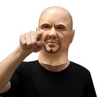 vestidos de perucas venda por atacado-Homem Artificial Realista cosplay Máscara de Látex Capa Sobrecarga Perucas barba Pele Humana Disfarce Prank Traje Cosplay Fancy Dress Delux Man Rosto