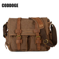 eski tuval deri dizüstü çantası toptan satış-CODDOGE Vintage tuval Çanta Çılgın At Çanta Ofis Çantaları Erkek Messenger Çanta Erkek Deri Laptop Çantası Evrak için