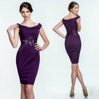 Wholesale Silk Wrap Robe - robe de soiree courte cap sleeve new design saree purple evening party gown 2018 vestidos de formatura short evening dress