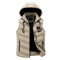 Wholesale korean men winter vest - Icpans Men's vest winter Hoodes down coon vest Men's Korean warm wave new style male zipper 2018 plus size 3XL
