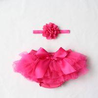 bragas de algodón amarillo al por mayor-Mix 10 colores Baby Girls Mesh TUTU Bloomers Sets flores de tela Diademas Niños Infantil Pantalones PP Ropa interior Ropa para niños