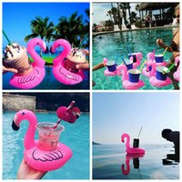Wholesale boat cup holders - Inflatable Flamingo Cup Holder Swim Drink Floats Cup Holder Summer Pool Bath Beach Beverage Boat Water Fun AAA341