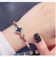 pulseiras de ouro venda por atacado-Designer de jóias de luxo Rose pulseiras de ouro para as mulheres trevo manguito aberto pulseiras hot fashion livre de transporte
