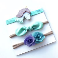 Wholesale blue flowers for headbands online - 2018 Unicorn headband for Baby girl with card Flowers Bunny knot Nylon Hair bow hair accessories cheap