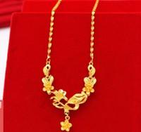 laiton sud achat en gros de-Mariage nouvelle version sud-coréenne de laiton plaqué Vietnam collier en or fleurs dorées chaîne longue couleur accessoires bijoux