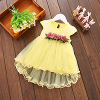 Wholesale Baby Summer Dresses 12 Months - 2018 Infant Kids Baby Girl clothes Summer Floral print Geometry round neck sleeveless cotton casual Princess Party Dresses one pieces
