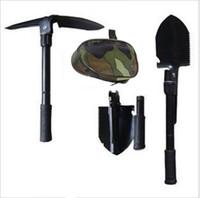 Wholesale folding shovel steel - Multifunctional Folding Shovel Outdoor Survival Trowel Pick Set Military Tactical Shovel Outdoor Garden Shovel With Bag KKA4486