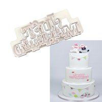 Wholesale married cake - Words Shaped Just Married Plastic Cake Mold Chocolate Tool Fondant Cake Decoration Mold Kitchen Baking Tools