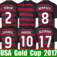 Wholesale Usa Soccer Shorts - Thailand PULISIC USA soccer jerseys Gold cup 2017 2018 United states national jersey 17 18 PULISIC YEDLIN BRADLEY ALTIDORE fooball shirt kit
