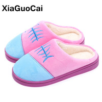 женские тапочки оптовых-XiaGuoCai Home Slippers Winter Warm Slippers Indoor Bedroom Women House Shoes Female Plush Slippers Furry Coon Pantufa Unisex