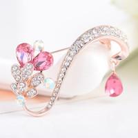 kristall roségold brosche großhandel-Luxuriöse blattform kristall strass metall broschen rose vergoldet brosche pins hochzeit brautmode schmuck