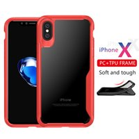 Wholesale Iphone Black Scratch - For iPhone X 8 7plus 6s Clear Back Cases Scratch Resistant TPU PC phone case for samsung Galaxy note 8 S8 s8 plus