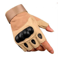 Wholesale half finger gloves men leather resale online - Tactical glove half finger leather gloves outdoor bike cycling glove anti skidding sporting gloves Fingerless gym fitness gloves men racing