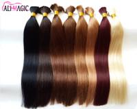 Wholesale quality ombre braiding hair resale online - AliMagic Bulk Braiding Hair Virgin Human Hair Bundles Bulk Straight Hair A High Quality Sell Well Can Be Dyed