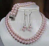 """8 Mm Blanc Akoya Shell collier de perles Boucle d/'oreille Set AAA 18/"""""""
