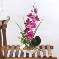 ingrosso fiori di orchidea bonsai-Rosa / Verde / Viola / Bianco Phalaenopsis Orchid Fiori di seta artificiale 7 Testa Simulazione Phalaenopsis Bonsai Simulazione dell'acqua
