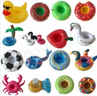 Wholesale swimming air float for sale - Group buy Lovely Inflatable Cup Float Flamingo Cup Holder Coasters Inflatable Drink Holder for Swimming Pool Air Mattresses for Cup Party SuppliesI462