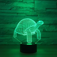 schildkröte nacht licht lampe großhandel-Schildkröte 3D optische Täuschungs-Lampen-Nachtlicht DC 5V USB trieb 5. Batterie-Großverkauf Dropshipping an Freies Verschiffen