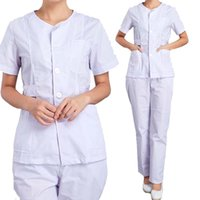Wholesale Uniform Scrubs - Women's Nursing Uniforms Medical Scrub Sets Short Sleeves collarless Tops and Pants