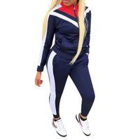 vestuário mulher inverno venda por atacado-Patchwork de Manga completa Sexy Outono Inverno Treino Mulheres Conjunto Roupa Moda Two Pieces Ternos Macacões Casuais Macacões Macacos Vermelhos S-3XL