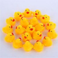 Wholesale infant bath toys - Baby Bath Toy Sound Rattle Infant Mini Rubber Duck Swimming Bathe Gifts Race Squeaky Duck Swimming Pool Fun Playing Toy CCA9916 5000pcs