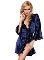 Wholesale wholesale robes online - Hot Women Sexy Robes Sleepwear Satin Lace Gown Three Quarter Nightwear Lingerie Intimate Apparel Babydolls Chemises Lady Clothing
