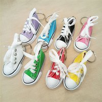 Wholesale Sneaker Mini - Mini 3D Sneaker Keychain Canvas Shoes Key Ring Novelty Tennis Shoe Chucks Keychain Favors Party Jewelry Handbag Car Key Ring 340033
