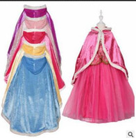 Wholesale Coral Dresses Wholesale - Winter Girls Coral Velvet Hooded Cloak Oversleeve Children Fancy Girl Princess Dress Snow Queen Cosplay Cloak Keep Warm Costumes