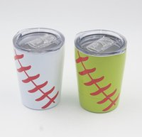 Wholesale baseball travel - 8.5oz Mini Tumbler Baseball softball kids cups wine glasses Stainless Steel Travel Beer Mug with straws sport cups no Vacuum Insulated