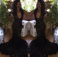 sexy schwarze kleider großhandel-2018 Sparkly Prom Kleider rückenfreie Meerjungfrau Mantel ausgestattet schwarz Pailletten Scoop formale Abend lange Frauen Kleider