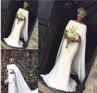 bata de chicas sexy al por mayor-2018 Negro Niñas Capped Satén vestidos de novia de la sirena Simple Sweep Train Wedding vestidos de novia Robe de soriee