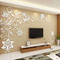 Wholesale mirror tv wall sticker - Wholesale-Acrylic wall stickers Wonderful TV Background Decoration Flowers Acrylic Wall Sticker Best Home Decor living room decoration