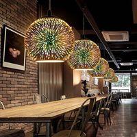ingrosso lampada moderna sospesa-Novità Lampada a sospensione in vetro Lampada moderna a sospensione Apparecchio di design a forma di palla di Natale 3D Luci a LED colorate