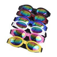 dog sunglasses toptan satış-Orta Büyük Köpek Gözlük Moda Katlanabilir Güneş Gözlüğü Büyük Pet Gözlük Gözlükler Rüzgar Geçirmez Güneş Gözlüğü 6 Renkler wen6846