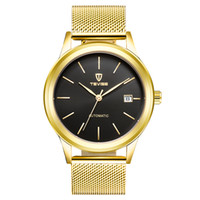 Wholesale Wound Up - TEVISE Gold Automatic Mechanical Men Watch Waterproof Mesh Stainless mens watches Steel Band Self-Winding Man Casual Wristwatch