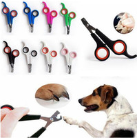 Wholesale wholesale nail supplies free shipping - 8 Color stainless steel pet nail clipper dogs cats nail scissors trimmer pet grooming supplies free ship