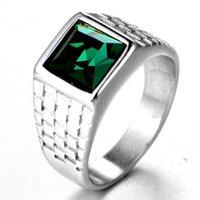 homens anéis reais venda por atacado-Tamanho 6-11 Antique Royal Golden Square Cristal Elegante Anel Para Homens de Moda de Aço cor Masculino Anel de Dedo Jóias