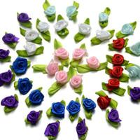 ingrosso rose colorate-300pcs / lot piccolo nastro di raso gemme abbellimenti festa nuziale fiori decorativi 27 colori per scegliere il formato del pacchetto di colore