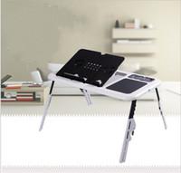 dizüstü bilgisayar masa tepsi masası toptan satış-Usb Fan Isı Dağılımı Ile braketi Çok Fonksiyonlu Dizüstü Tablo Ayarlanabilir Minimalizm Mobilya Fold Tepsi Masası Yüksek sertlik 27wy jj