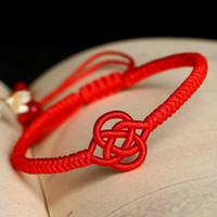 brazaletes de cuerda al por mayor-Rojo de la cuerda nuevos hombres brazalete afortunado chino pulsera para las mujeres pulsera de hilo rojo trenzado Amistad J1482